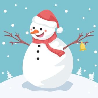 Иллюстрация снеговика с колокольчиками
