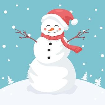 Иллюстрация веселого снеговика