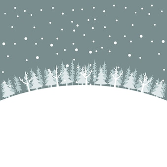 Зимний пейзаж рождественская открытка с деревьями в снегу