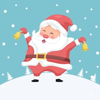 Веселая рождественская открытка с санта-клаусом с рождественскими колокольчиками