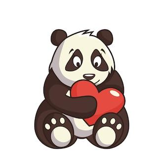 Мультяшный рисунок нежной медвежьей панды