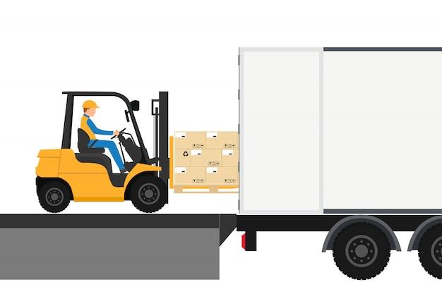 Вилочный погрузчик с приводом в контейнере для экспорта