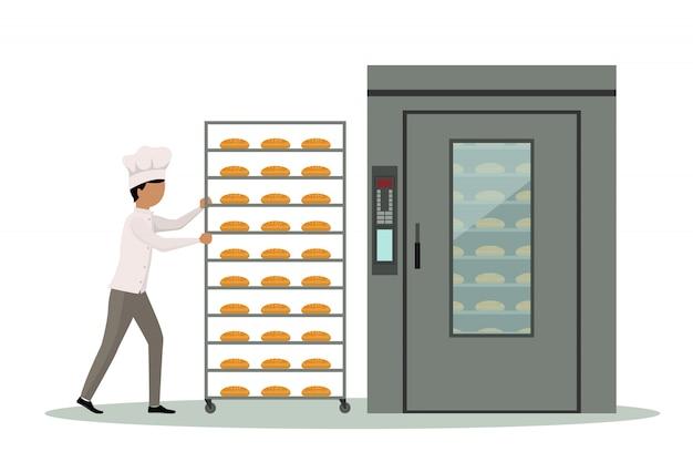 産業用オーブンにパンをいっぱいに入れたモバイルベーカー。