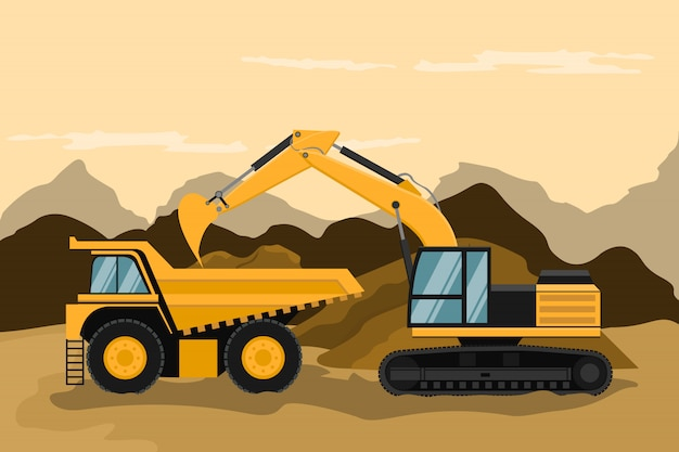 建設および採鉱作業を行う鉱山用トラックおよびキャタピラー・バックホー