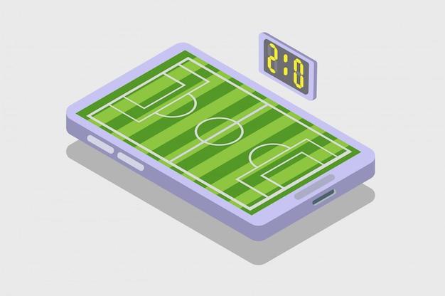 Смартфон футбольный матч изометрические, текущий результат, футбольная иллюстрация, значок, символ