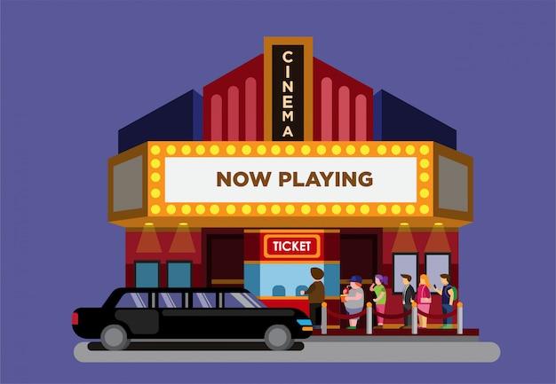 Премьера фильма в кинотеатре плоской иллюстрации