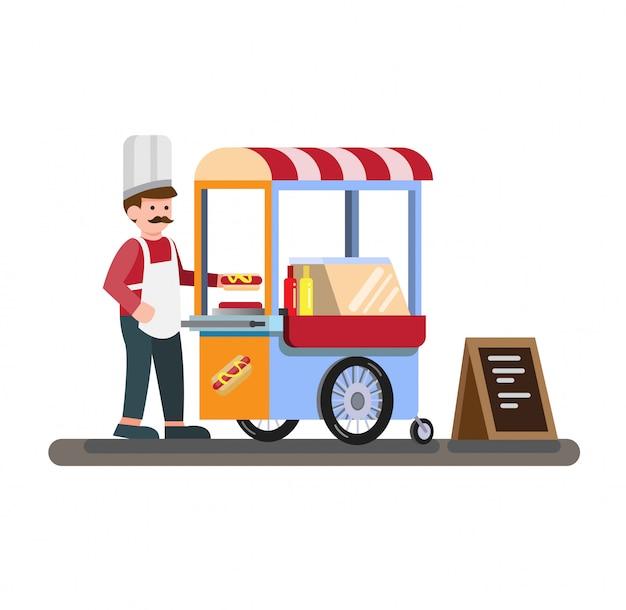 Киоск тележки хот-дога на колесах розница, фаст-фуд, плоская иллюстрация