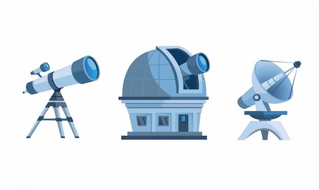 天文学発見装置セット。展望台のドーム、望遠鏡、プラネタリウム、衛星のイラスト