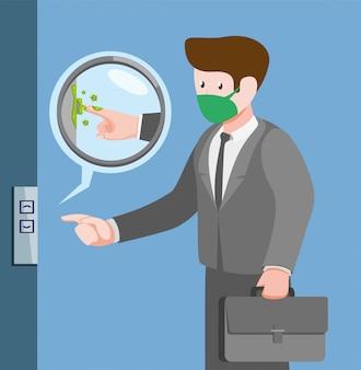 Бактерии в лифте, заражение человека бактериальными вирусными инфекциями от прикосновения в общественных местах в мультяшный плоской иллюстрации