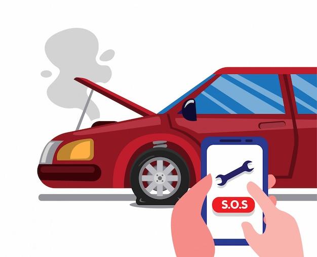 Вызовите придорожную помощь с помощью смартфона в автомобильной аварии. концепция службы страхования автомобилей в мультяшный плоской иллюстрации изолированы