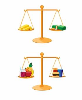 Финансовые инвестиции и здоровое питание в коллекции сравнения баланса установить вектор иллюстрации