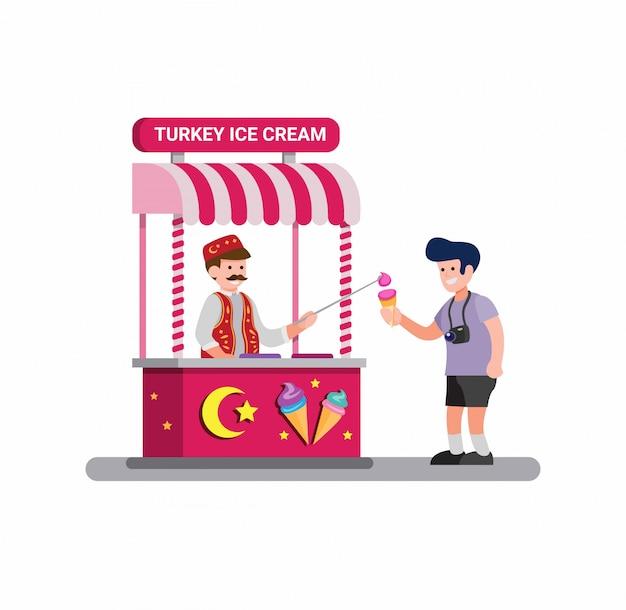 分離された漫画フラットイラストベクトルでトルコからアイスクリームの伝統的な屋台の食べ物を売る男