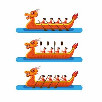 中国の祭りのアイコンセットでレースのドラゴンボート。分離された漫画フラットイラストベクトル
