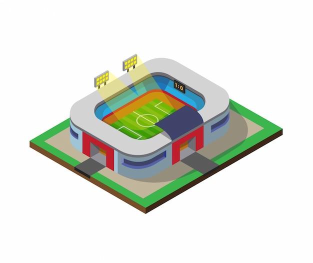 Футбол футбольное поле спорт стадион здание изометрия плоский иллюстрация изолированные