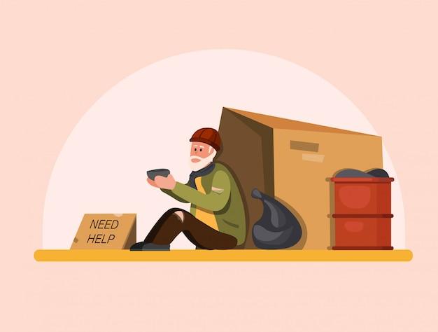 ホームレスの人々は助けを必要としています、貧しい老人は通りを待つ人々に助けを求めて座っています。漫画フラットイラスト