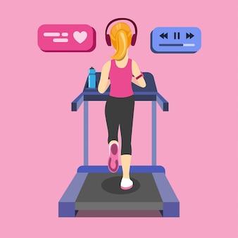 Молодая женщина работает на беговой дорожке. вид сзади с современным спортивным оборудованием, спортивная бутылка с водой. мультфильм плоской иллюстрации.