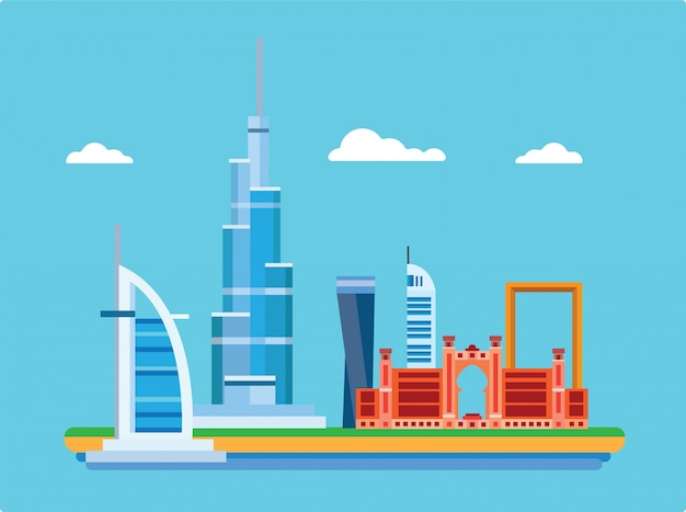 Город дубай в объединенных арабских эмиратах с известными достопримечательностями в плоской иллюстрации