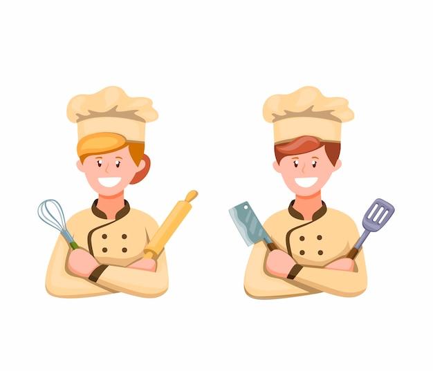 シェフの男と女の白い背景の漫画イラストで調理記号アイコンセットを調理する準備ができて