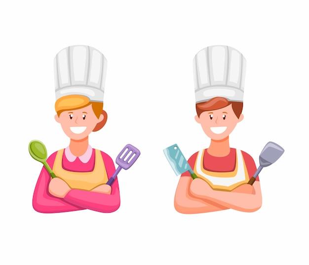 白い背景の上の漫画イラストのキッチンシンボルイラストで料理をする男性と女性