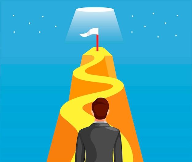 ビジネスの男性が歩くか、成功のための旗のシンボルと目標に到達するために丘を登る。