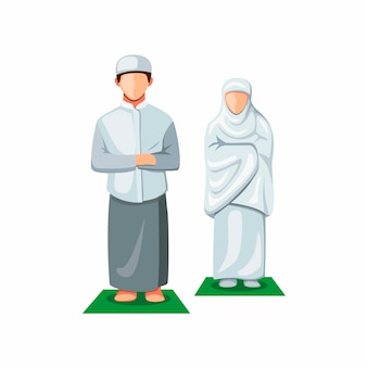 正面を向いて祈るイスラム教徒の人々。