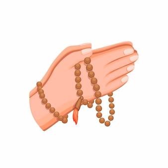 祈り、漫画イラストのイスラム教の宗教記号を保持している木製のビーズを持っているイスラム教徒の手