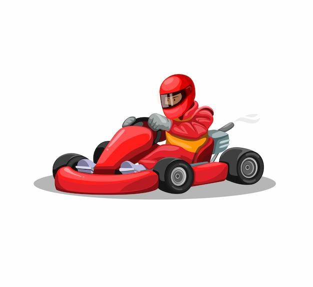 カートのレーサーのキャラクターを赤いユニフォームで移動します。白い背景の上の漫画イラストのプロの運転レーススポーツ競争