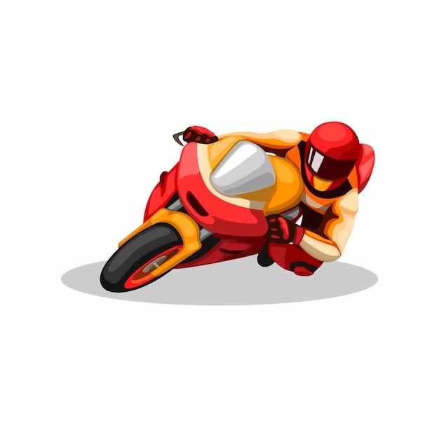 白い背景の上の漫画イラストのサーキットレースの競争でコーナリングモータースポーツライダー