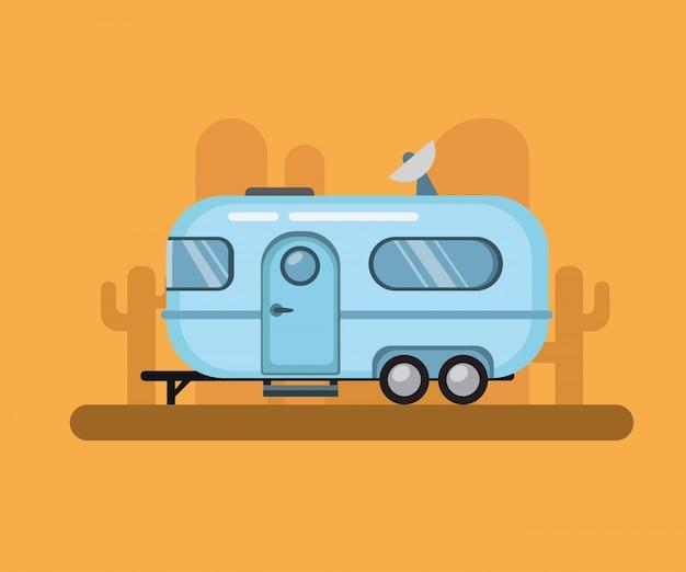 Винтажный трейлер перемещения, турист потока воздуха в заходе солнца пустыни. плоская иллюстрация