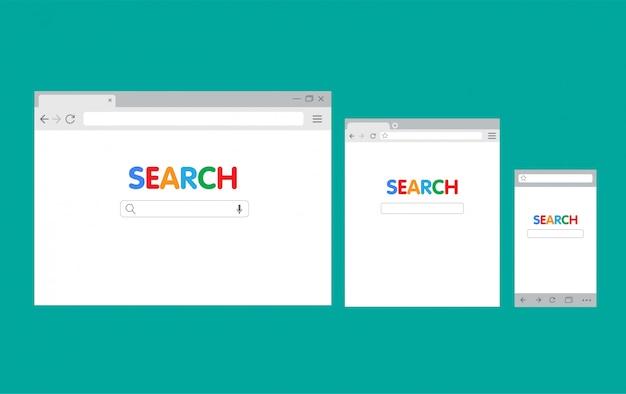 Интерфейс браузера пк и мобильных устройств, шаблон поисковой машины с плоской иллюстрацией