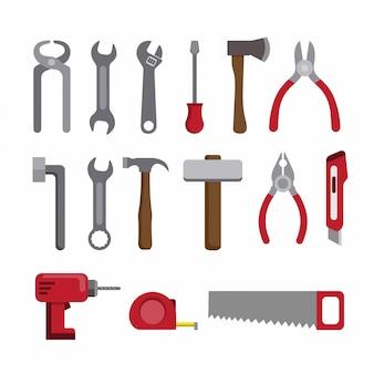 Инструменты ремонта и строительства коллекции значок набор плоских