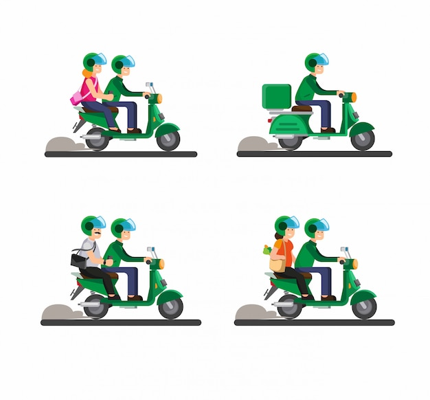 Онлайн транспорт байкер, мотоцикл, тандем, пассажир, пара вместе верхом на мотоцикле иллюстрации