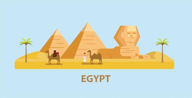 フラットなデザインイラストでエジプト、ピラミッド、スフィンクス、ラクダを持つ男を旅行します。