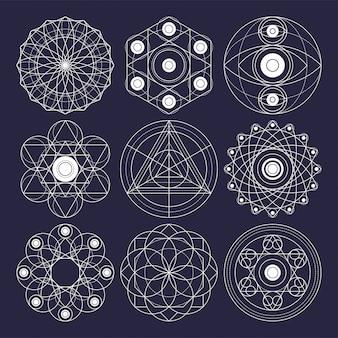 Элементы дизайна сакральной геометрии. оригинальный контур (не расширенный ход).