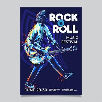 ロックンロールポスターテンプレート。ダックウォークスタイルのイラストとギタリスト。ペイントのカラフルなストロークを持つロカビリーポンパドールヘアギタープレーヤー。