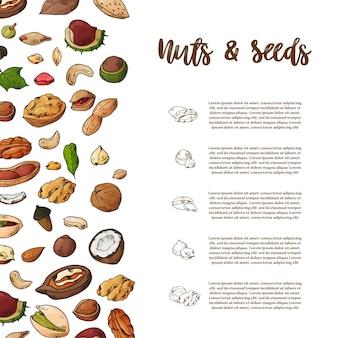 自然なナッツと種子のテンプレート。