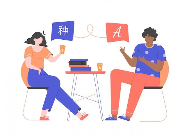 Парень и девушка учат иностранный язык. языковой обмен, обучение и курсы. люди разных национальностей сидят на стульях за столом со стопкой книг.
