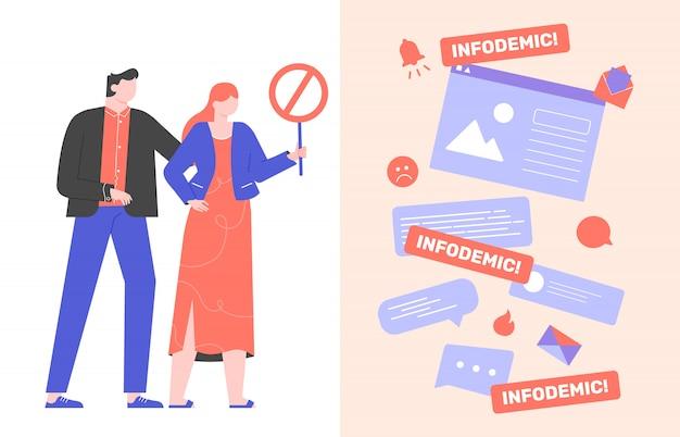 Инфодемия во время вирусной пандемии. онлайн розыгрыш, сплетни, фальшивые новости в интернете. поиск надежных источников информации. персонажи со знаком запрета. остановить инфодемию. плоский.