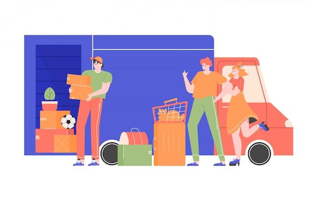 Счастливая семья с кошкой и сумками возле грузовика с вещами. сотрудник транспортной компании грузчик грузит ящики с вещами в машину. переезд на новую квартиру, дом. плоская иллюстрация.