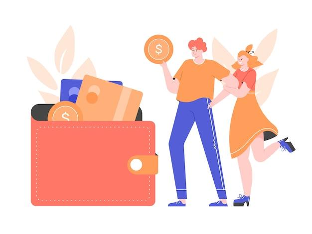 銀行カードとコインの財布の横にある若いカップル。家計、貯蓄、ローン、預金。文字と金融の平らなイラスト。