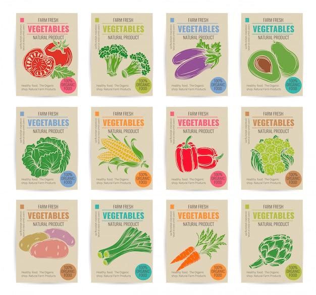 Набор рисованной овощи плакаты.