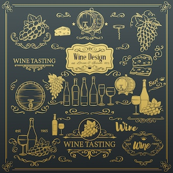 装飾的なビンテージワインアイコン。