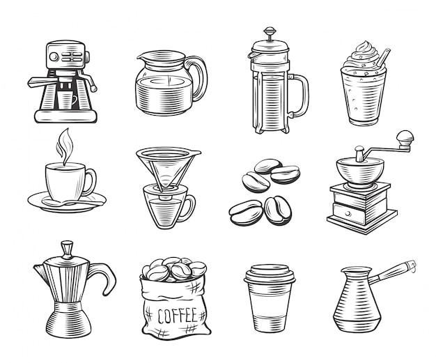 Набор рисованной декоративные иконки кофе.