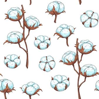 Хлопковые цветы бесшовные модели.