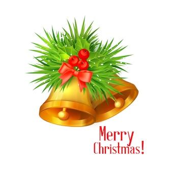 Иллюстрация золотых рождественских колокольчиков