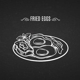 Рисованной линии значок завтрак бекон и яйца.