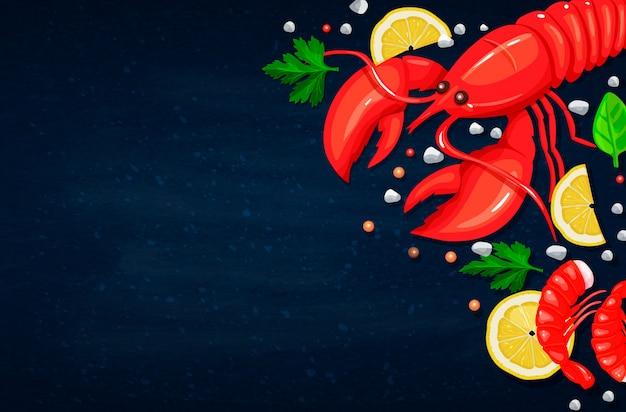 シーフード。健康食品の料理のコンセプトです。