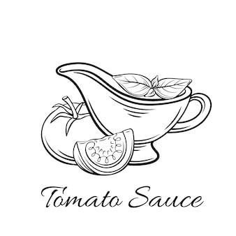 バッジトマトソース。ロゴ食品、古いスタイルのエンブレム。