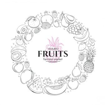 手描きの果物とフレーム
