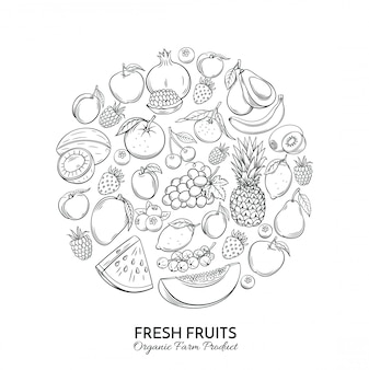 Постер круглой композиции с рисованной фруктами